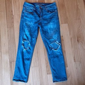 American Eagle High Waisted Distressed Mom Jeans